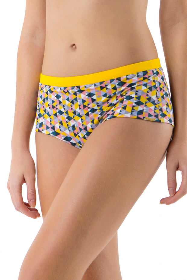 Boyshort with Contrast Waist S / Triangle Print - amanté Swimwear