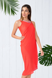 Cross Over Cover Up S / Coral - amanté Swimwear