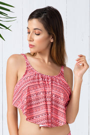 Flounced Swim Top S / Coral Print - amanté Swimwear