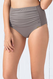 High Waisted Ruched Brief (New Colours) S / Mineral - amanté Swimwear