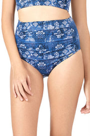 High Waisted Ruched Brief (New Colours) S / Globe Print - amanté Swimwear