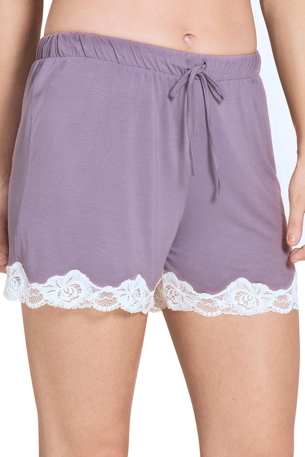 Lace Touch Sleep Short S / Gray Ridge - amanté Sleepwear