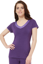 Satin Edge Pyjama Top (New Colours) S / Purple - amanté Sleepwear