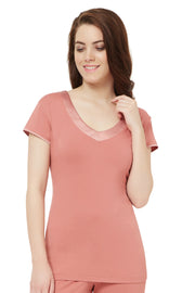 Satin Edge Pyjama Top (New Colours) S / Light Mahogany - amanté Sleepwear