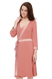 Satin Edge Robe S / Light Mahogany - amanté Sleepwear