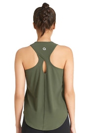 Racerback Tank with Keyhole Detail S / Army Green - amanté Sportswear