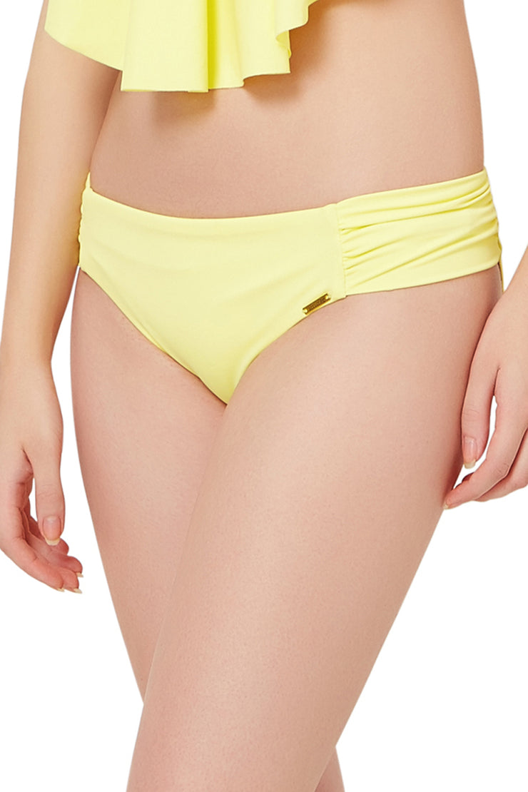 Ruched Bikini Bottom S / Lemonade - amanté Swimwear