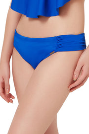 Ruched Bikini Bottom S / Royal Blue - amanté Swimwear