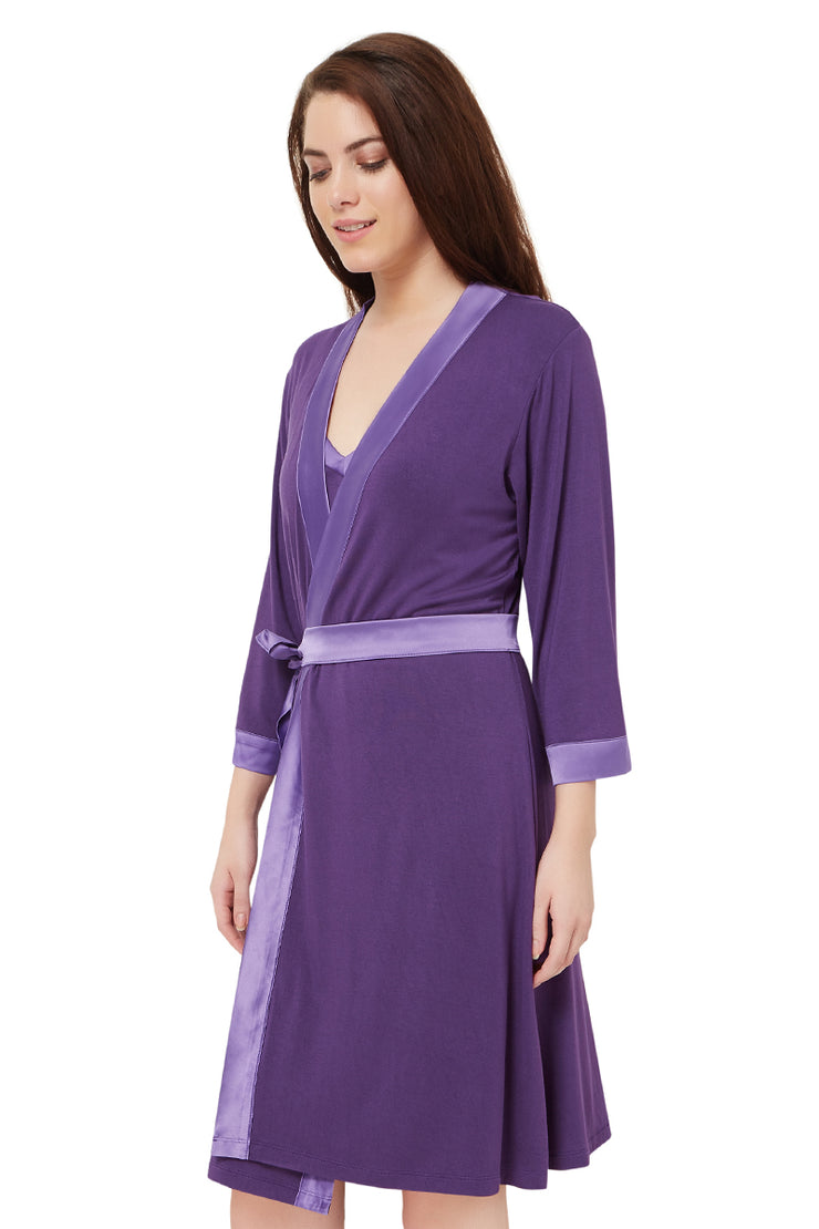 Satin Edge Robe S / Purple - amanté Sleepwear