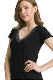 Satin Edge Pyjama Top (New Colours) XL / Black - amanté Sleepwear