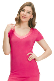 Satin Edge Pyjama Top (New Colours) S / Camelia Rose - amanté Sleepwear