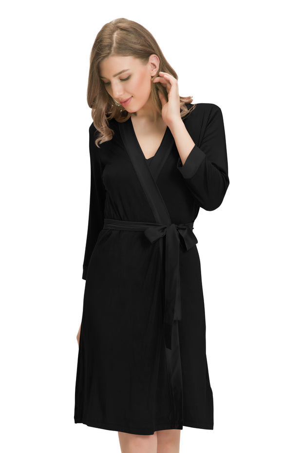 Satin Edge Robe L / Black - amanté Sleepwear