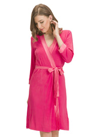 Satin Edge Robe L / Camelia Rose - amanté Sleepwear