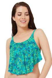 Flounced Swim Top S / Tropical Palm Print - amanté Swimwear
