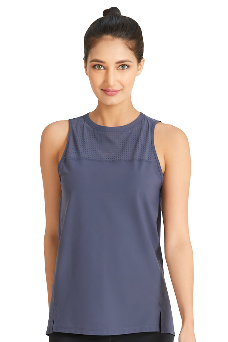 Tank Top with Mesh Detail S / Anchor-Grey - amanté Sportswear