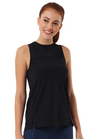 Tank Top with Mesh Detail S / Black - amanté Sportswear