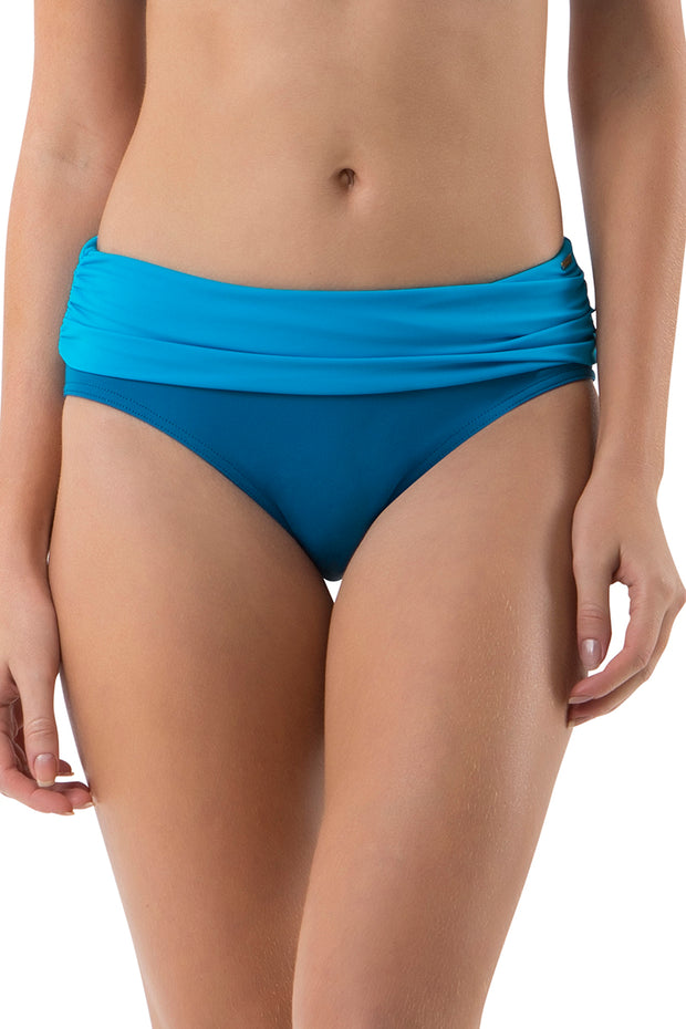 Ruched Swim Bottom (New Colours) S / Blue Sea - amanté Swimwear