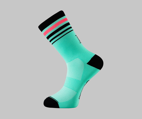 Celeste cycling socks with pink stripe