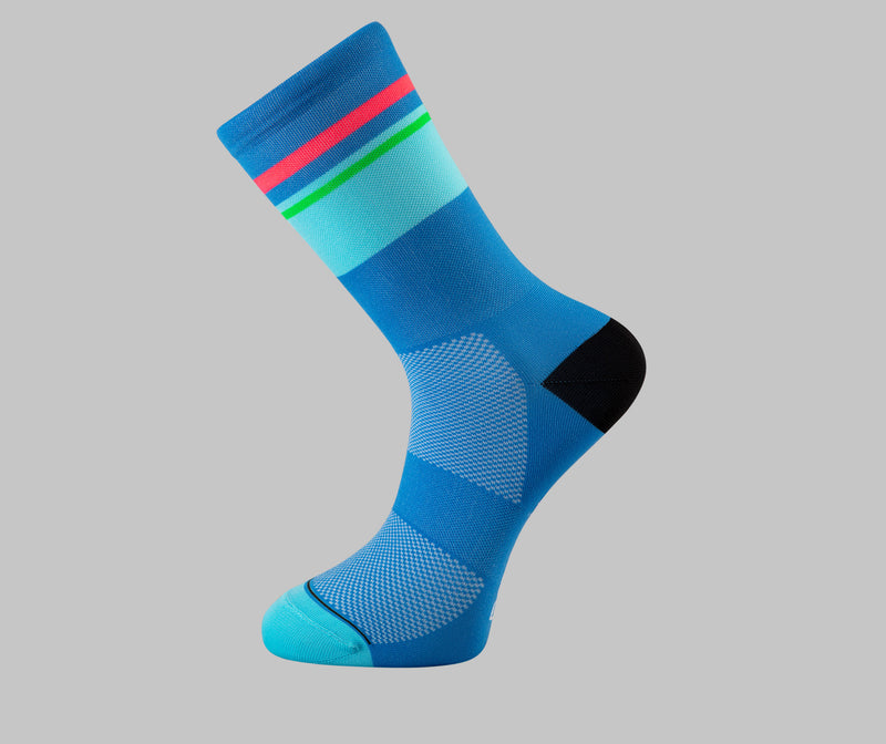 blue cycling socks tempo Pongo London cycling socks