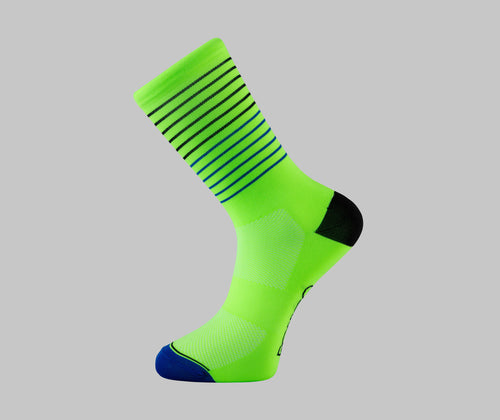 fluro green striped socks cycling