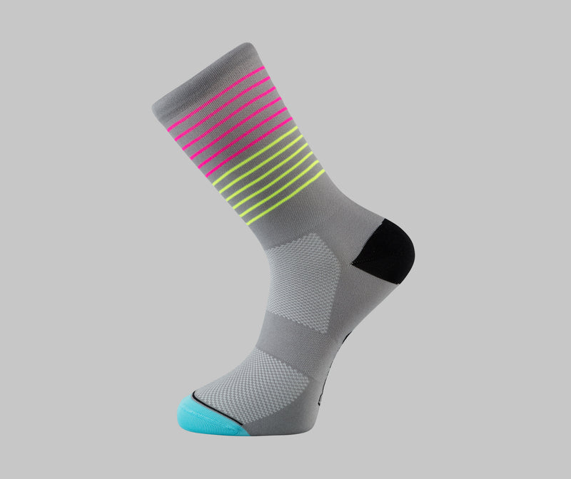 grey cycling socks fluorescent stripe