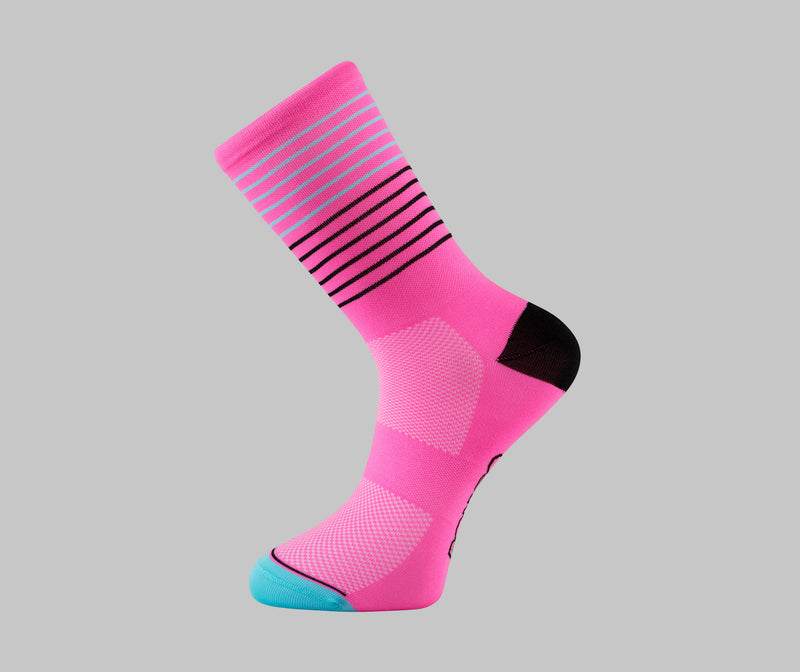 breton pink stripe cycling socks