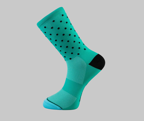 celeste polka dot cycling socks