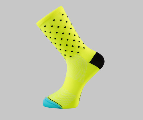 yellow polka dot cycling socks