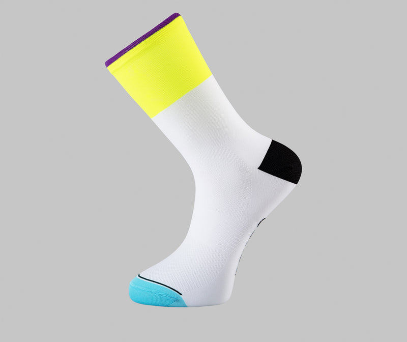 fluorescent yellow white cycling socks dip Pongo London cycling socks best cycling socks