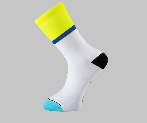 yellow cycling socks white blue Pongo London cycling socks