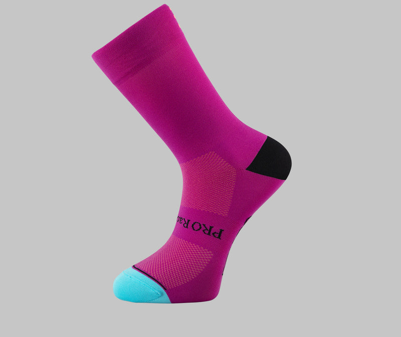 magenta cycling socks PONGO London cycling socks