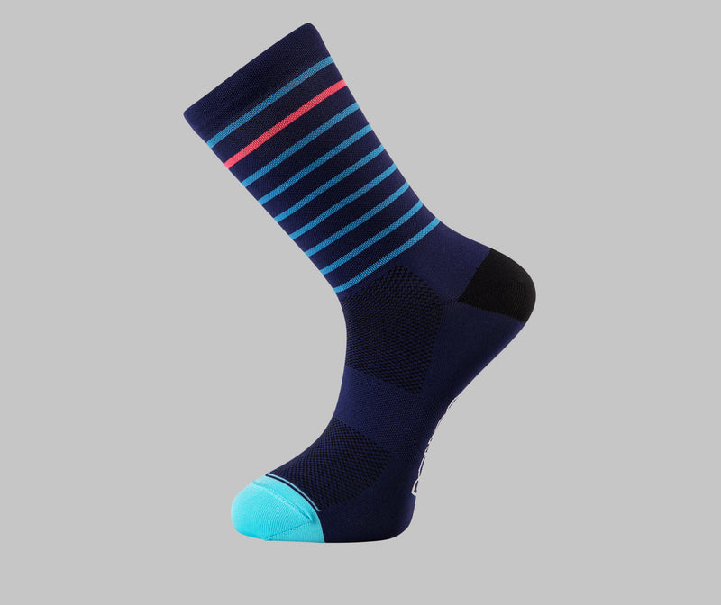 navy cycling socks hoop Pongo London cycling socks best cycling socks
