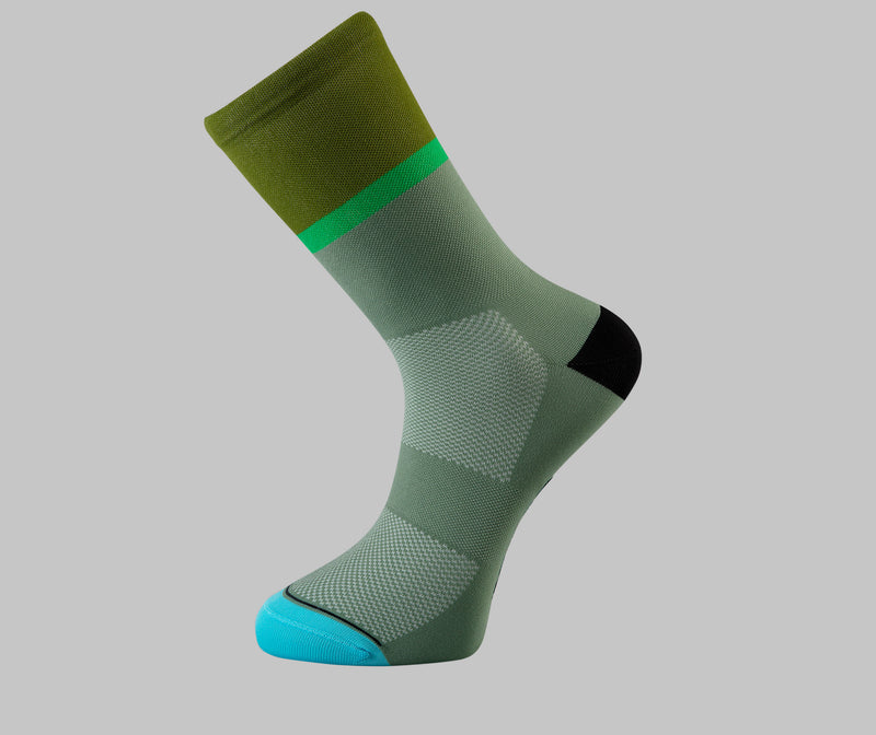 gravel cycling socks olive green two tone Pongo London cycling socks