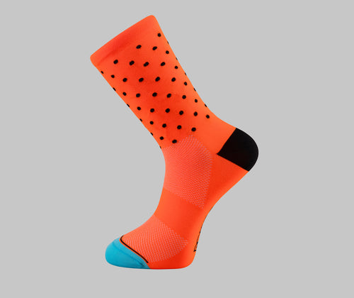 orange polka dot cycling socks