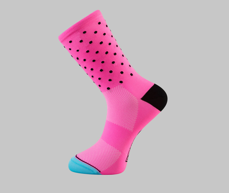 pink polka dot cycling socks