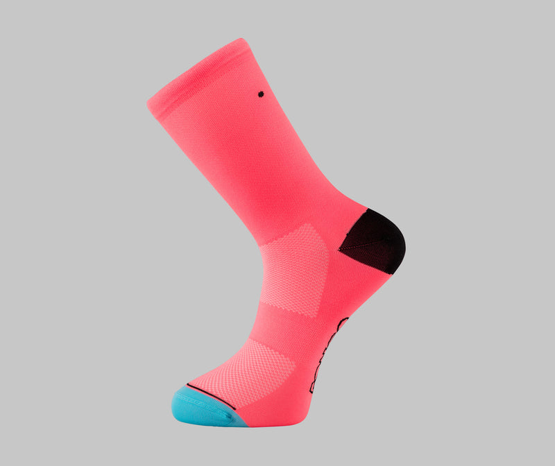 hi-vis pink cycling socks