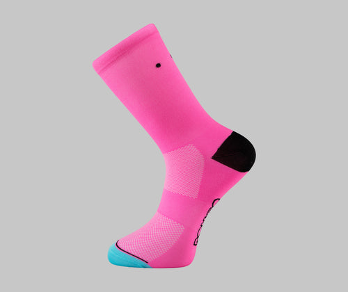 bubble gum pink cycling socks