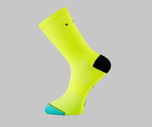 fluorescent yellow cycling socks