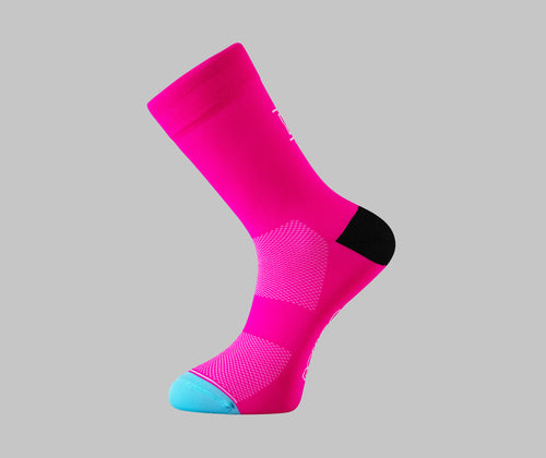 fluorescent pink cycling socks