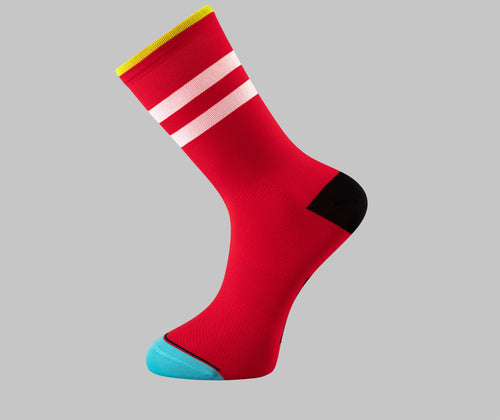 red cycling socks Pongo London cycling best uk cycling socks