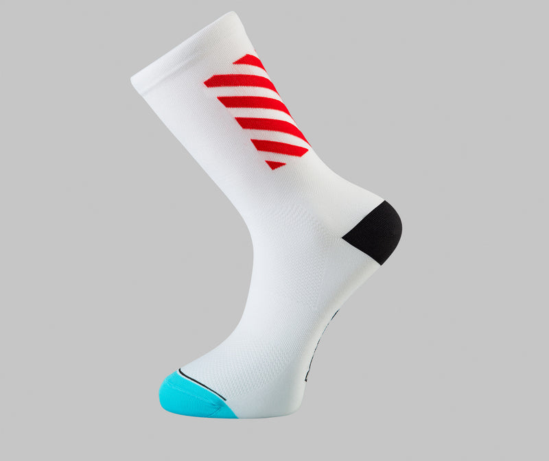 red white cycling socks block Pongo London bright cycling socks