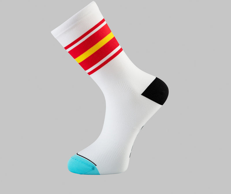 white red cycling socks Pongo London cycling socks