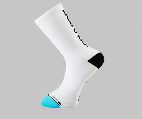 solo ride cycling socks white Pongo London cycling socks