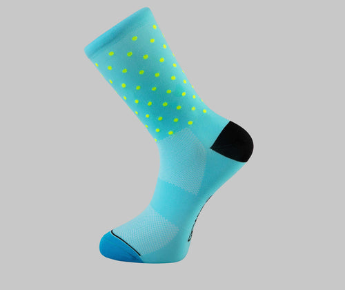 blue polka dot cycling socks