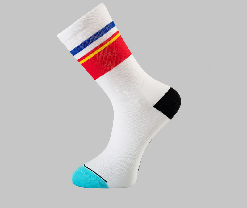 white cycling socks temp Pongo London cycling socks
