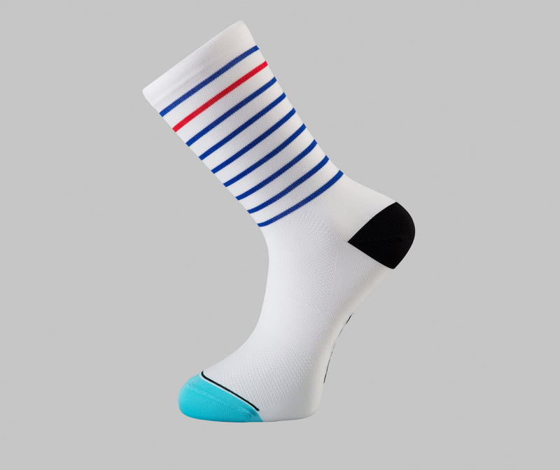white cycling socks hoop Pongo London cycling socks best cycling socks france