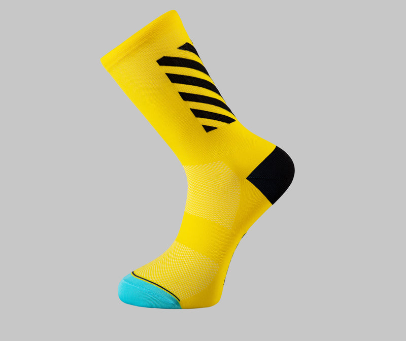 yellow cycling socks block Pongo London bright cycling socks