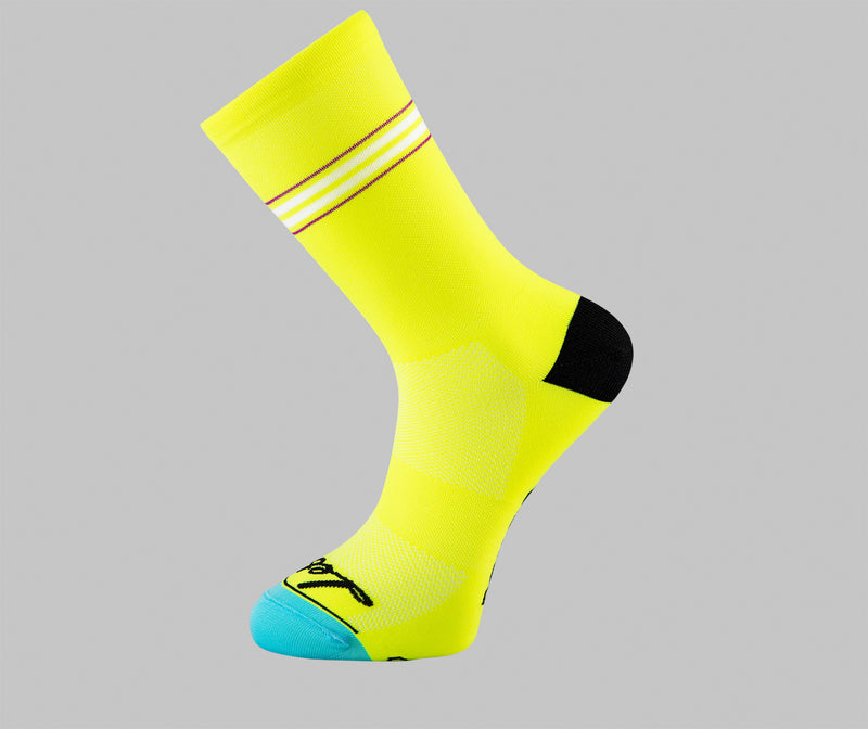 Pin Stripe - Cycling Socks - Hi-Vis Yellow