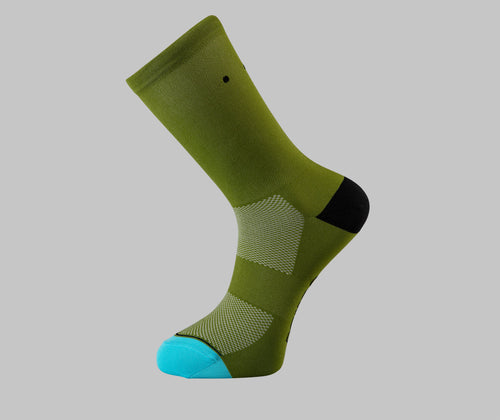 gravel cycling socks olive green pro classics Pongo London cycling socks