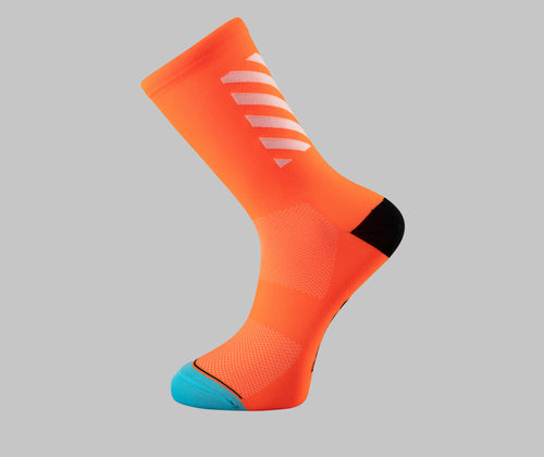 orange cycling socks block Pongo London bright cycling socks